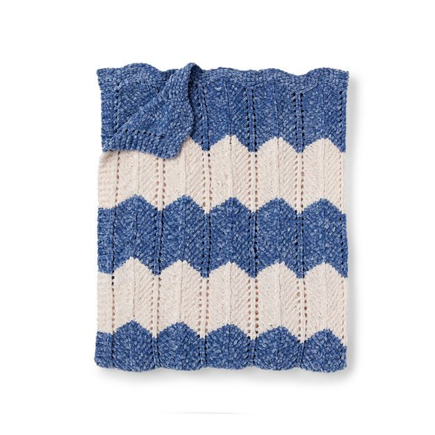 Bernat Knit Waves Blanket | Knitting, Knitting patterns ...