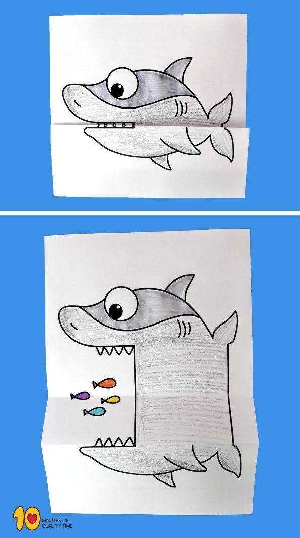 Surprise Folding Paper - Hai # Tierhandwerk # Ozeanhandwerk # Haie # Hai # Kidsprinta ... - #folding #Hai #Haie #Kidsprinta #Ozeanhandwerk #paper #Surprise #Tierhandwerk #easycrafts