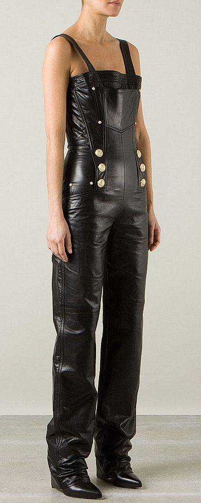 Black Leather Jumpsuit by Balmain 2014 | #black.leather ...