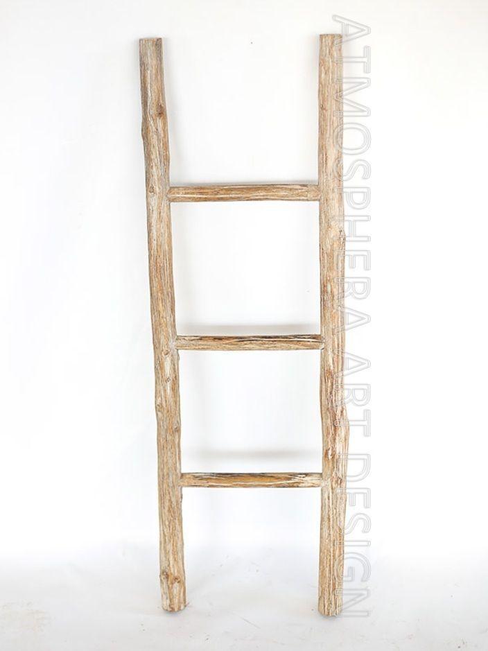 Scala legno 3 gradini decorativa porta asciugamani for Scala in legno shabby