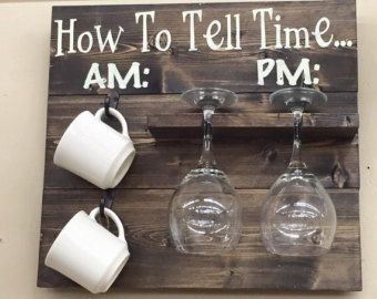 Stained Coffee Bar Sign with Cup Hooks and Wine Glass Hanger For Wall | Wine a Little Laugh a Latte Wood Sign | Glass and Mug Organizer Rack