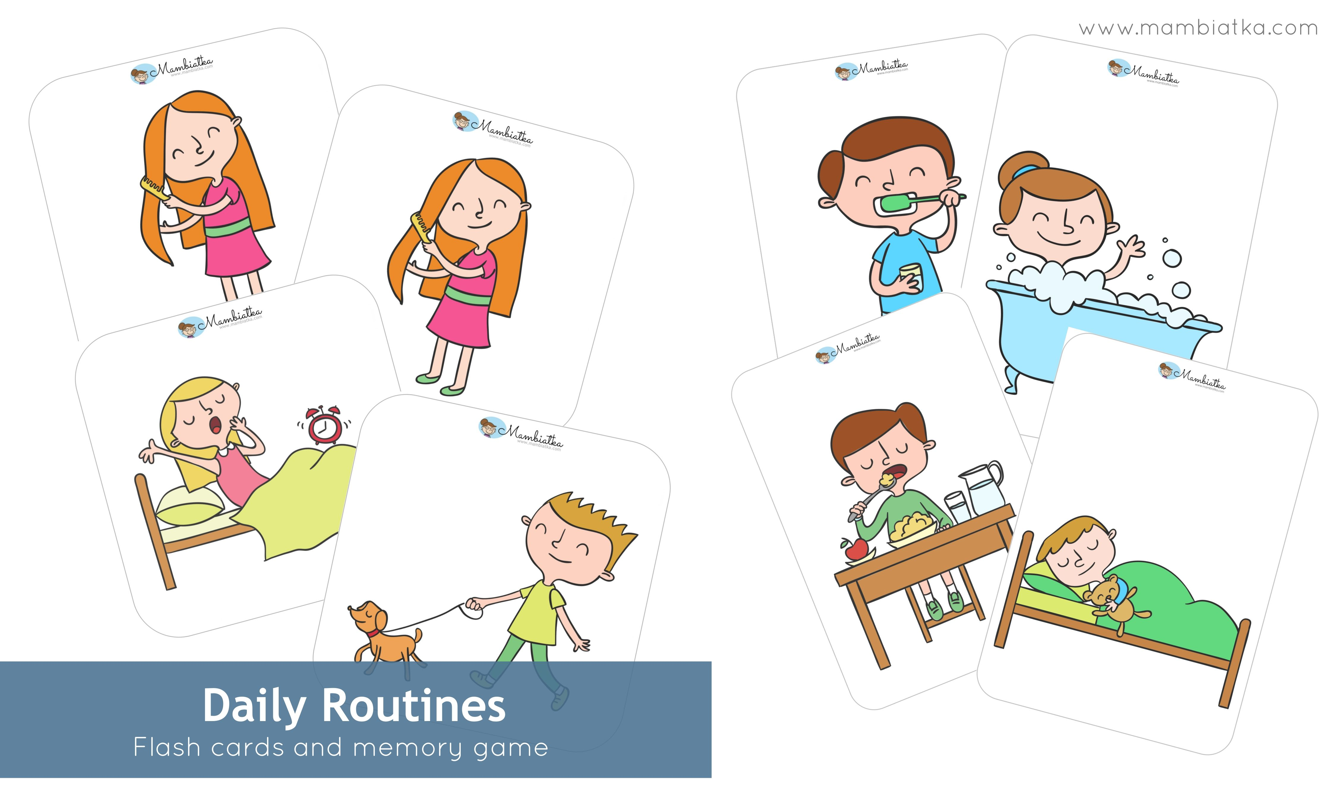 Daily Routines Flash Cards Memory Game English For Kids