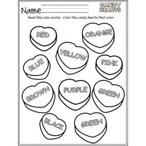 Candy Hearts Colors | Color sheets, Conversation and Kindergarten