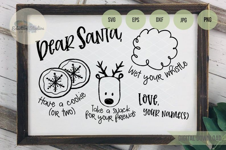 Cookies for Santa SVG, Cookie Doodle Tray, Dear Santa Tray, Christmas Eve cookie tray, reindeer food