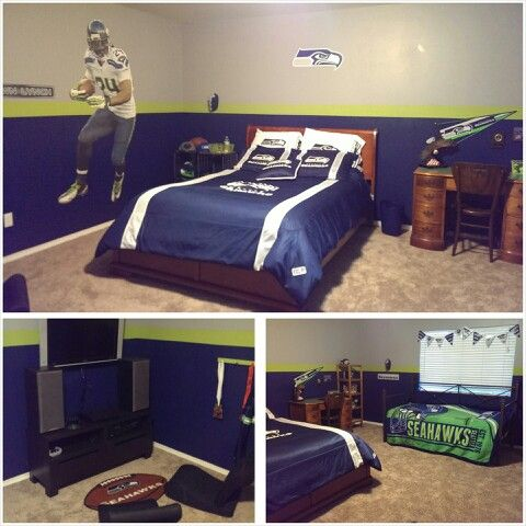 Seahawks Bedroom With Gaming Area My Home Boy Room
