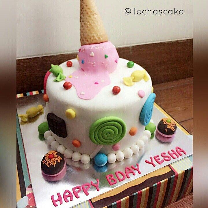 Spilled ice cream birthday cake Fondant topper Techas homemade
