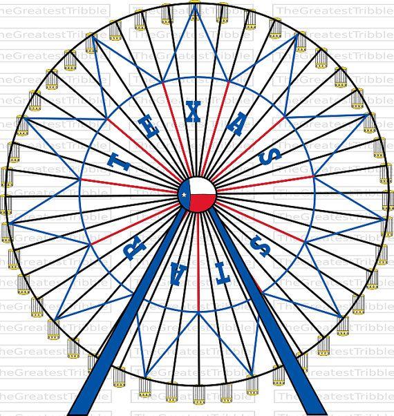 Ferris Wheel Texas Star Ferris Wheel Svg Png Jpg Vector Etsy Star Coloring Pages Texas Star Star Svg