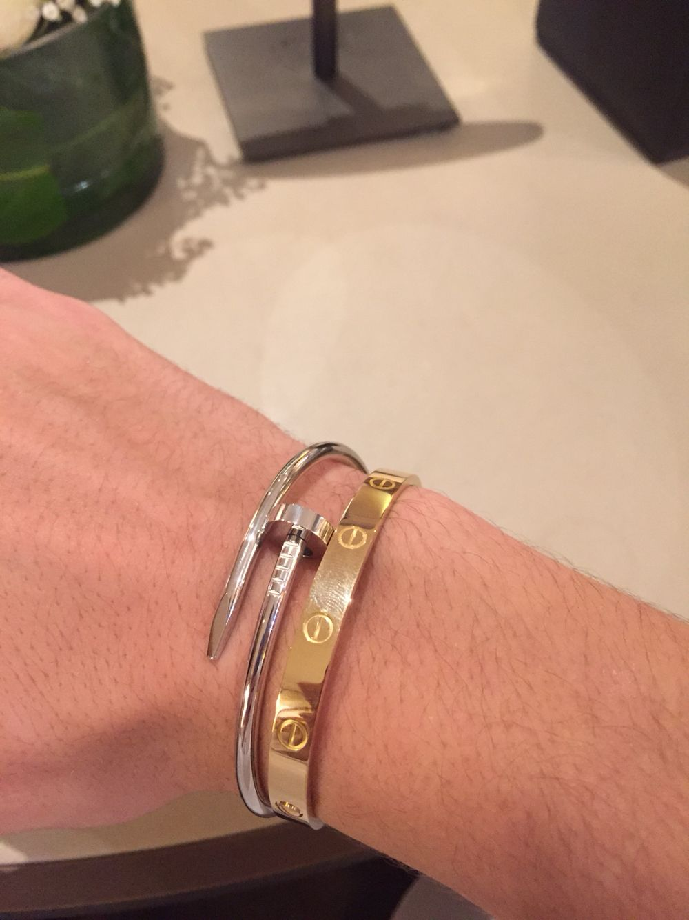 bfb8495870505 Cartier Love and just un clou if put in this order on a guys wrist ...