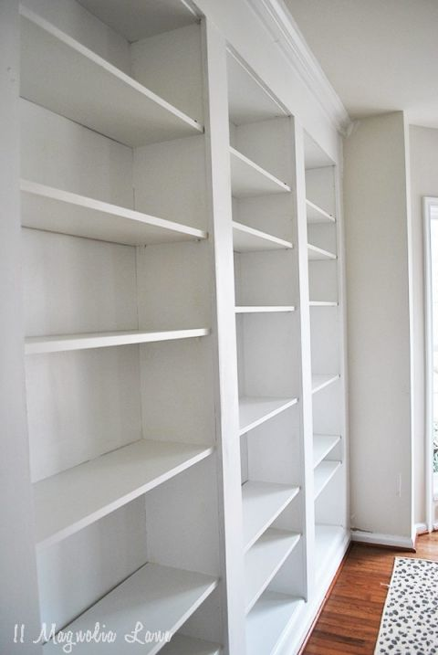 Builtin Bookshelves from IKEA Billy BookcasesHow to do