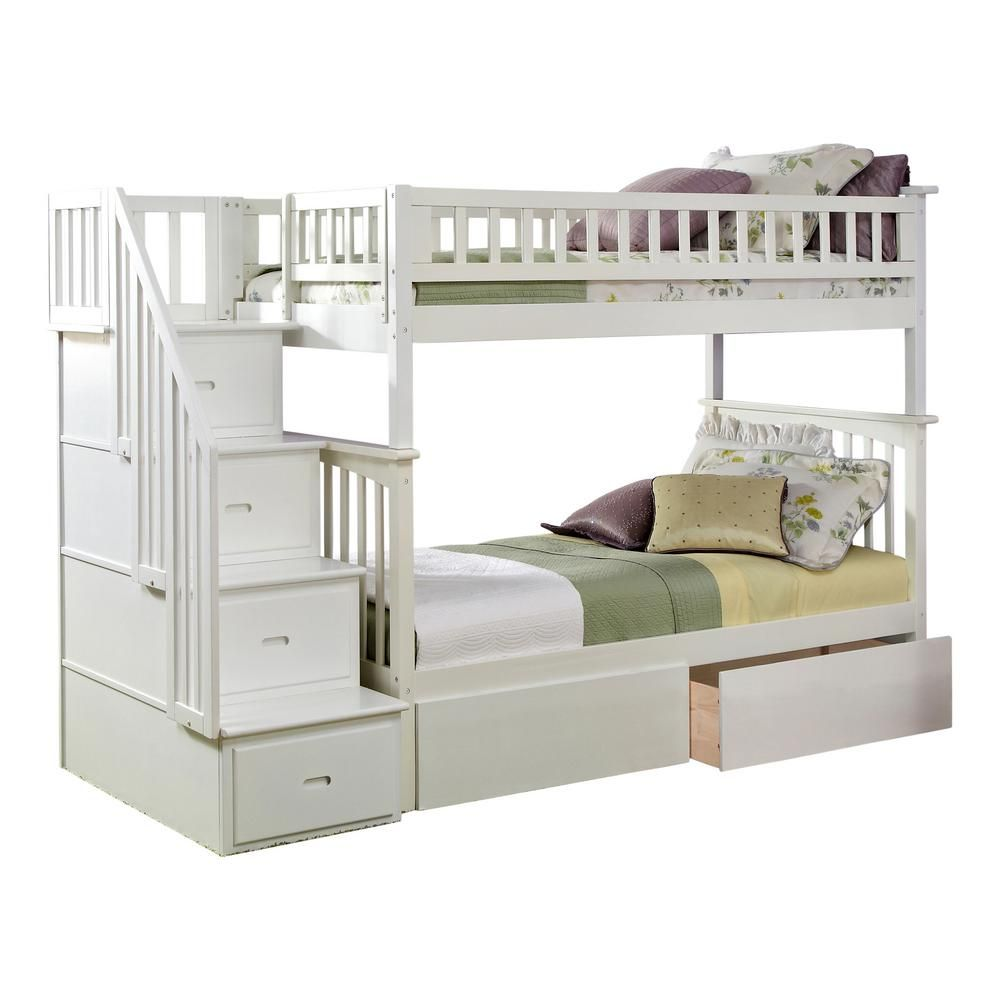 Atlantic Furniture Columbia Staircase White Twin Over Twin Bunk Bed
