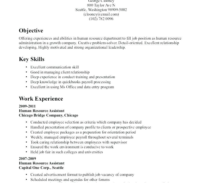 Objective Resume Sample Human Resources Objective For Resume