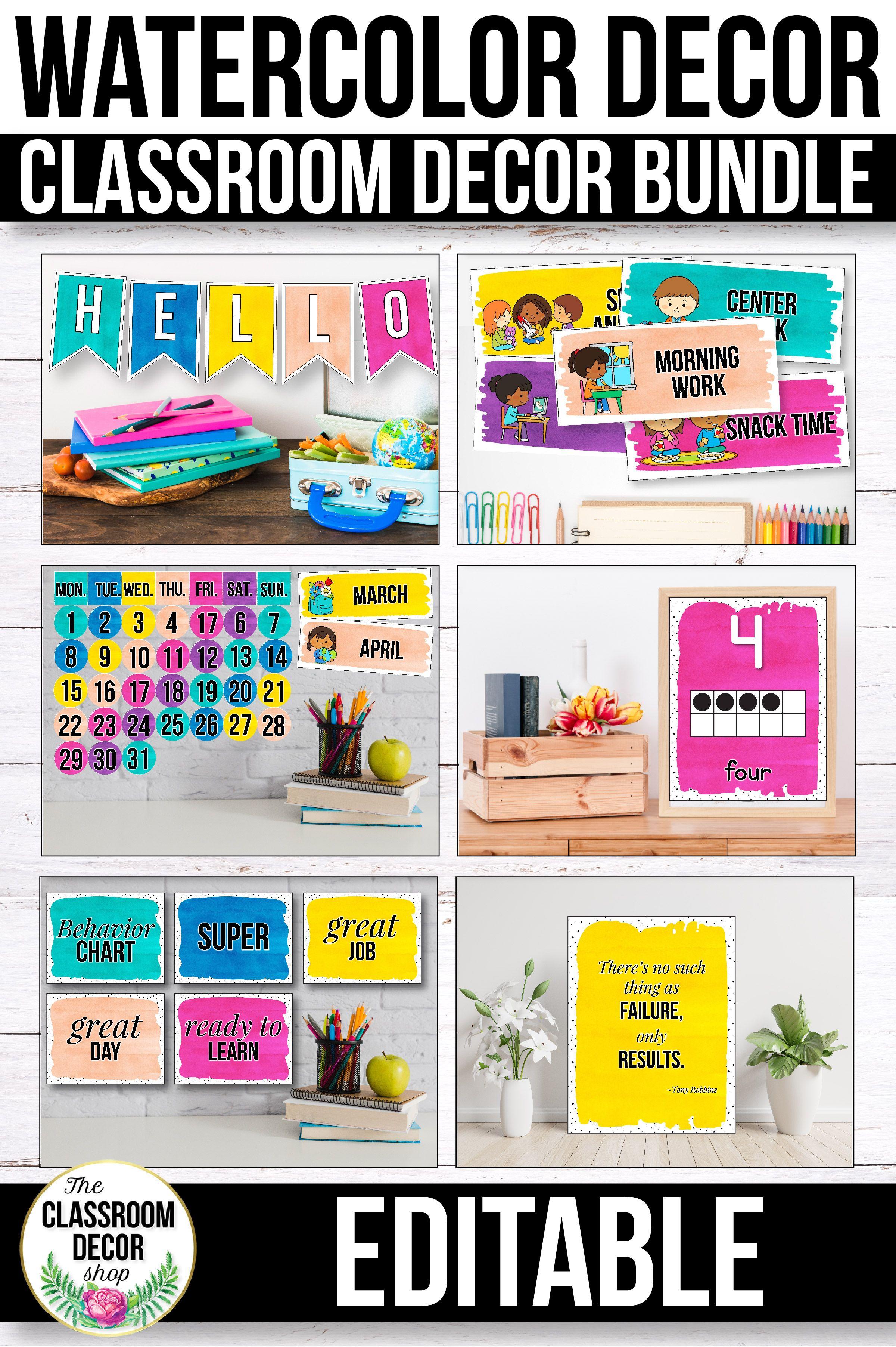 Watercolor Classroom Decor Bundle Editable Classroom Classroom