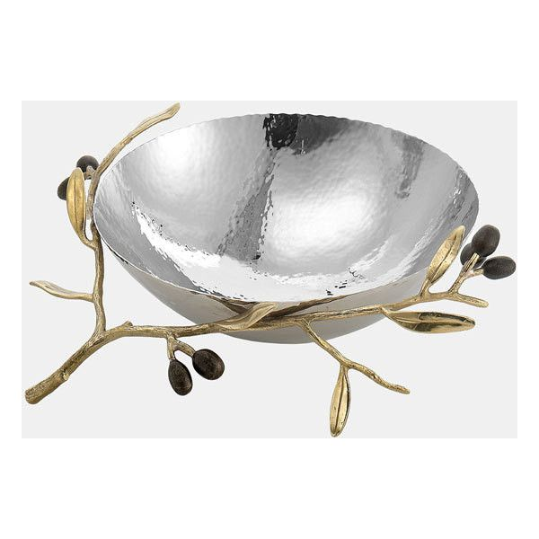 Michael Aram 'Olive Branch Gold - Medium' Serving Bowl (13,195 INR) ❤ liked on Polyvore featuring home, kitchen & dining, serveware, no color, michael aram, michael aram bowl, polka dot bowl, gold bowl and olive bowl