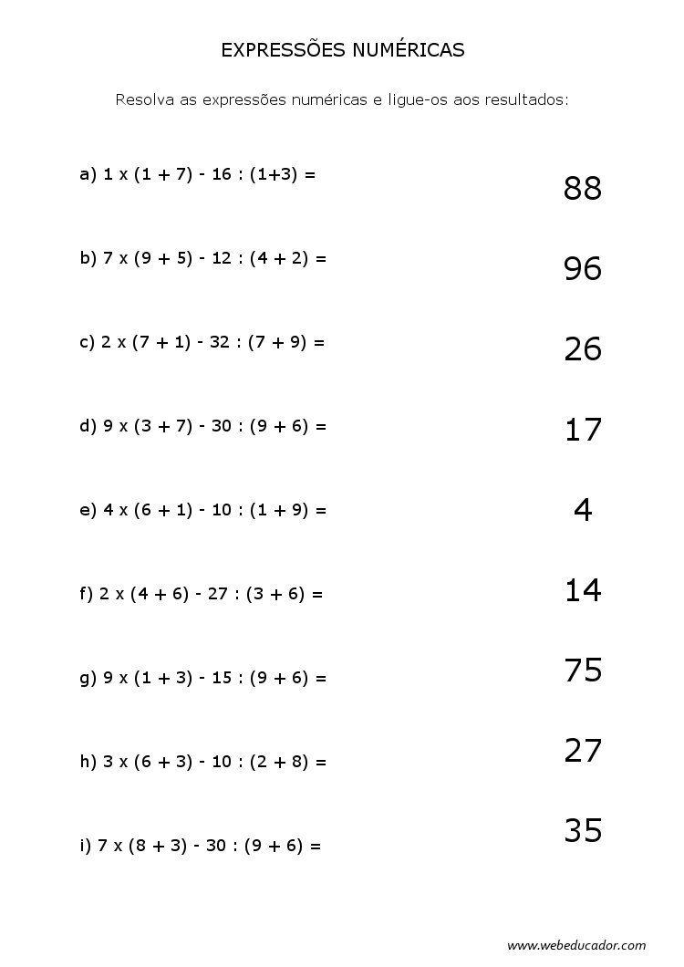 expressões numéricas … | matematica-1-2 | Pinterest | Mathe