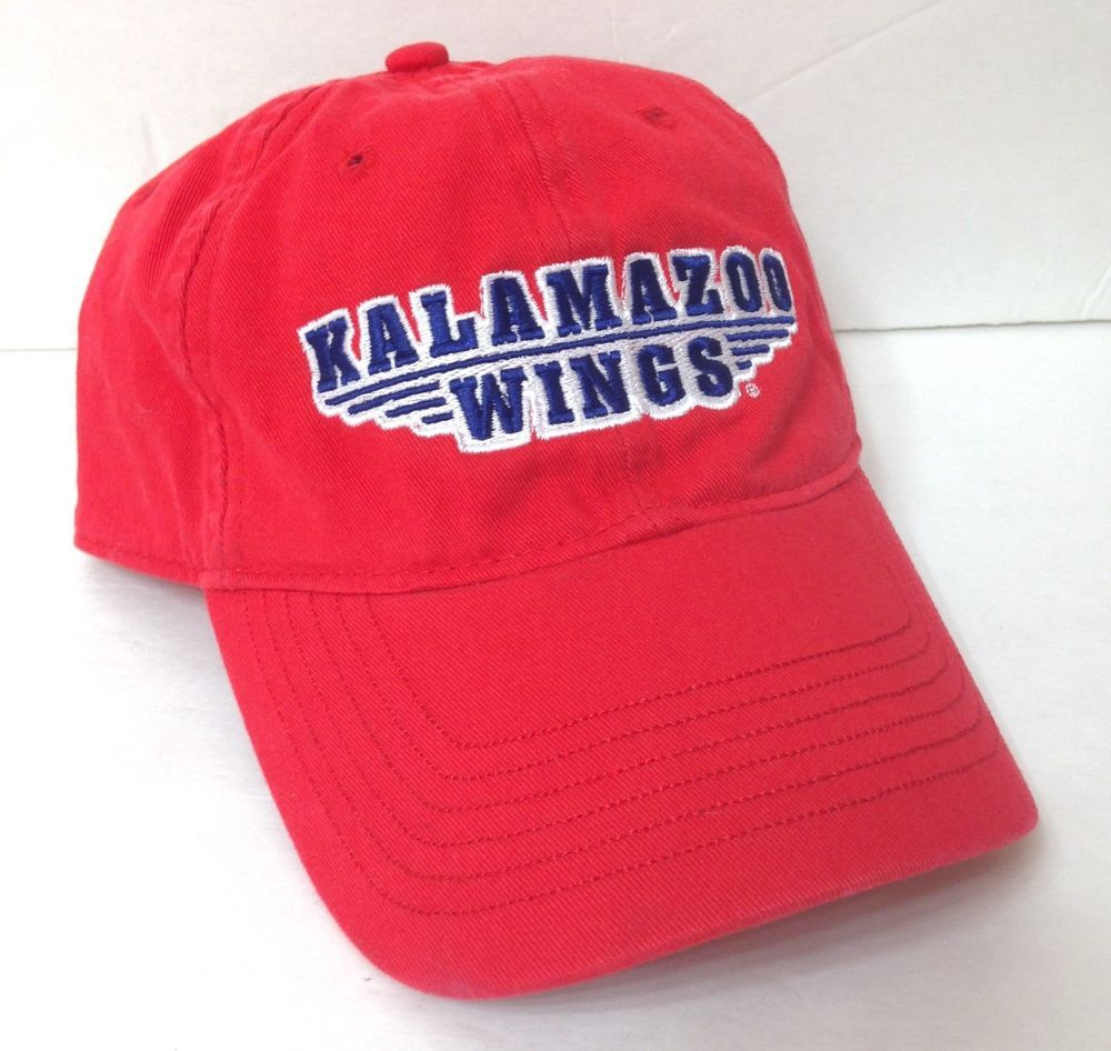 63ed77126103c KALAMAZOO WINGS DAD HAT Red Low Profile Unstructured Hockey Men Women ECHL  vtg  Ouray  BaseballCap