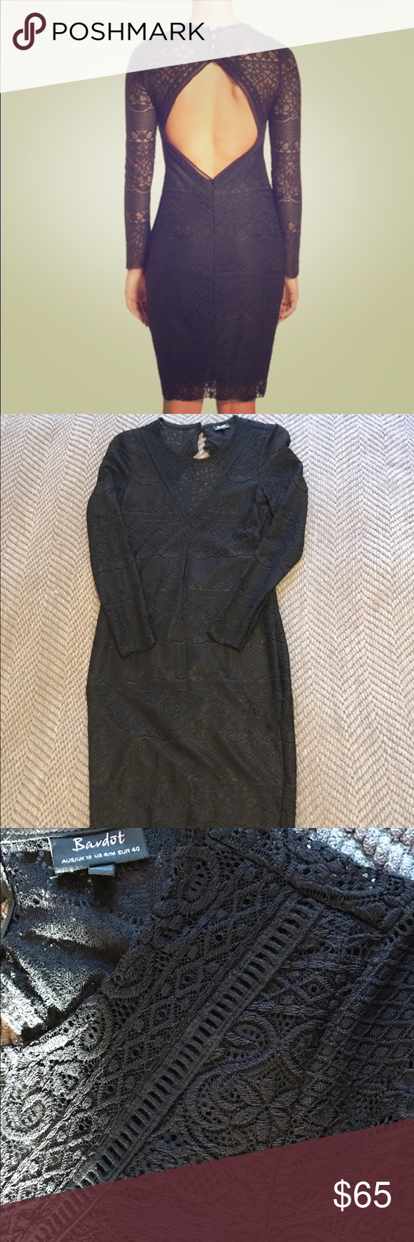 Bardot Black lace open back dress Bardot black lace open back dress. Worn once. Super stretchy and comfortable. Excellent condition. Back hidden zipper and buttons. Long sleeve, hits just above knee. Size: medium. No trades or lowballs. Bardot Dresses Midi