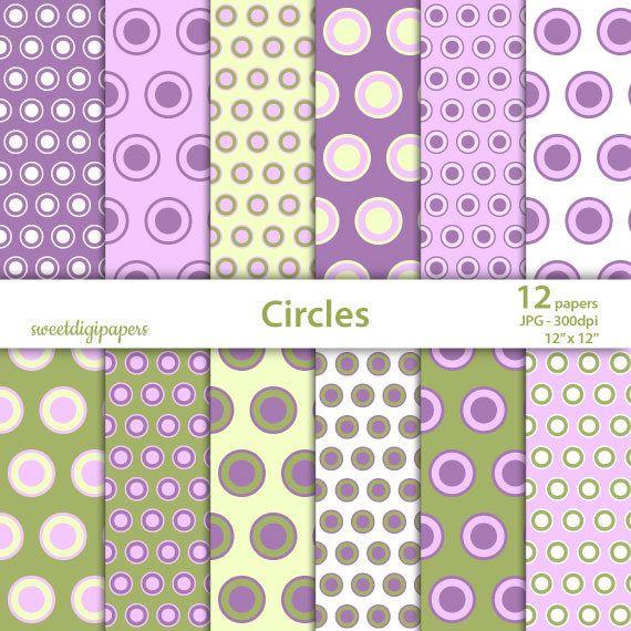 Purple circle digital paper, circle scrapbook, dots digital paper