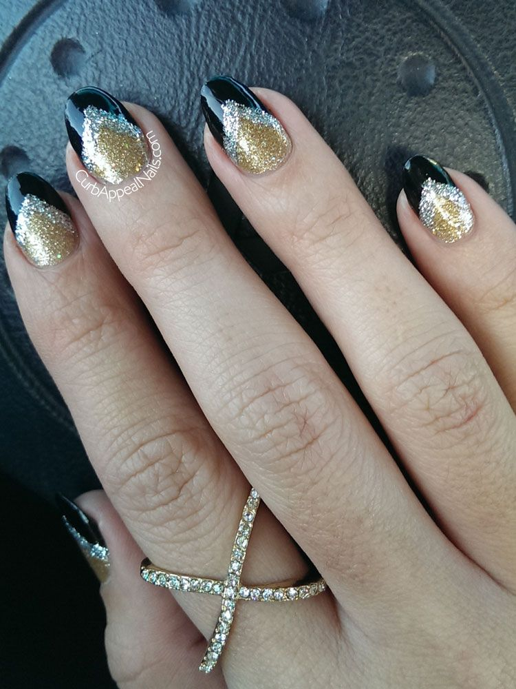 Silver Gold And Black Almond Shaped Nails