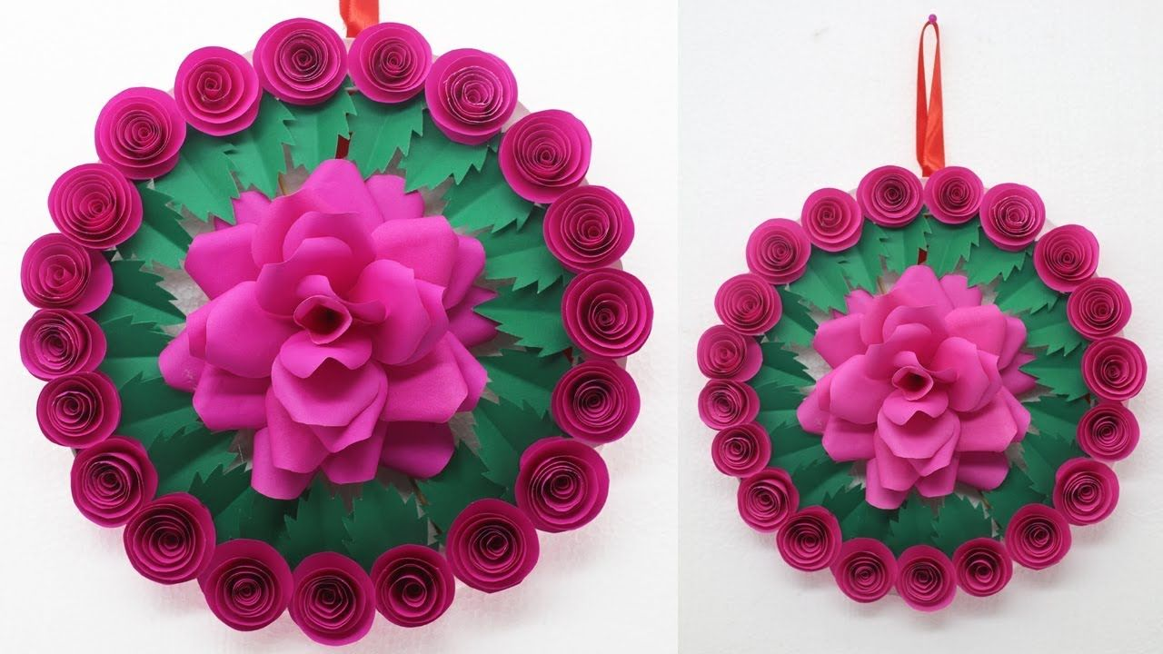 How To Make Diy Paper Rose Wall Hanging Paper Flowers Tutorial
