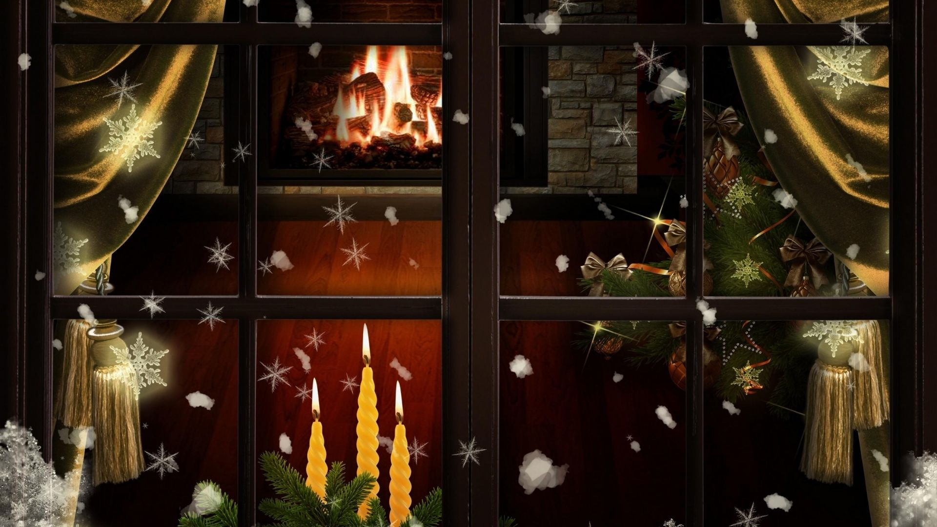 1920x1080 Wallpaper Window Fireplace Candles Christmas Tree Cozy Christmas Christmas Window Candles In Fireplace Holiday Wallpaper