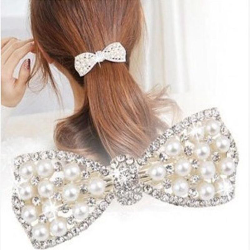 Hair Bows Accessories Clip Ladies Fashion Crystals Diamante Decoration Headpiece