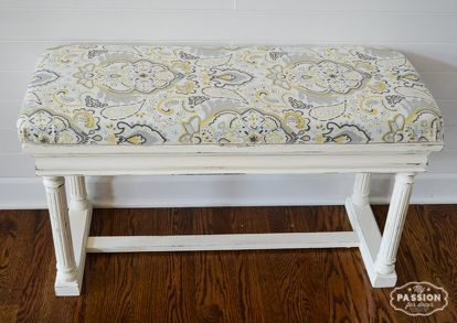 vintage piano bench makeover, chalk paint, painted furniture, reupholster