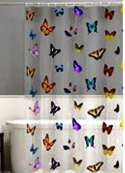 MULTI COLOR BUTTERFLIES On CLEAR SEE THRU VINYL SHOWER CURTAIN HOOKS NEW
