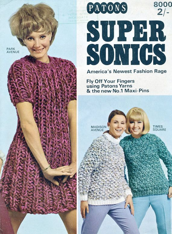 10 Hrs To Knit A Dress Or Sweater! - Patons Supersonics 1960\'s ...