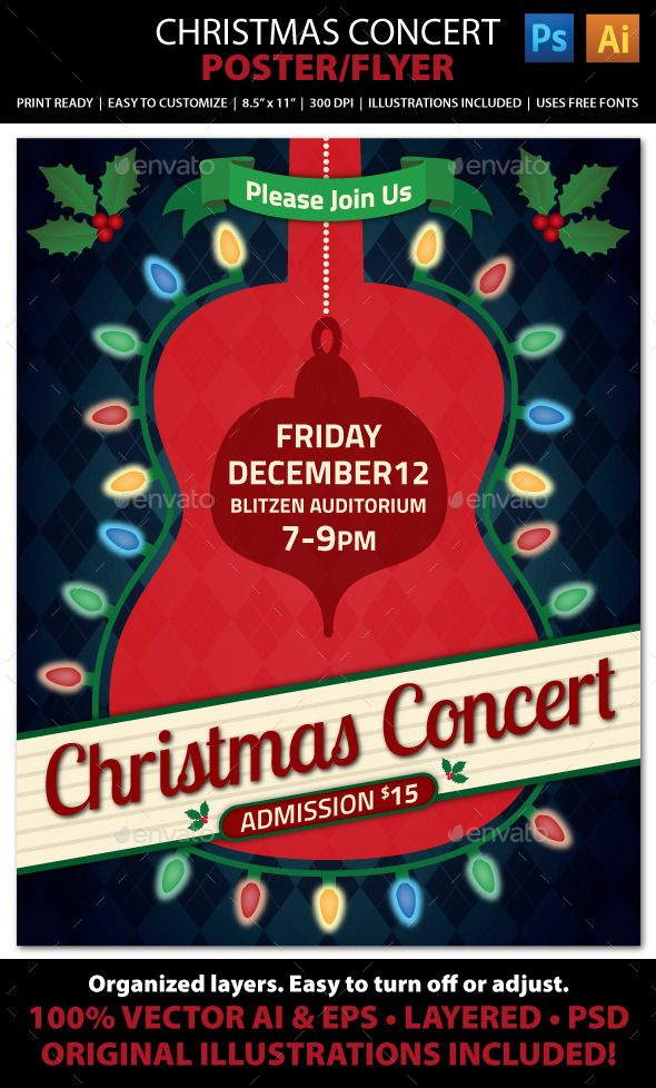 Christmas Concert Music Event Flyer Or Poster Event Flyers