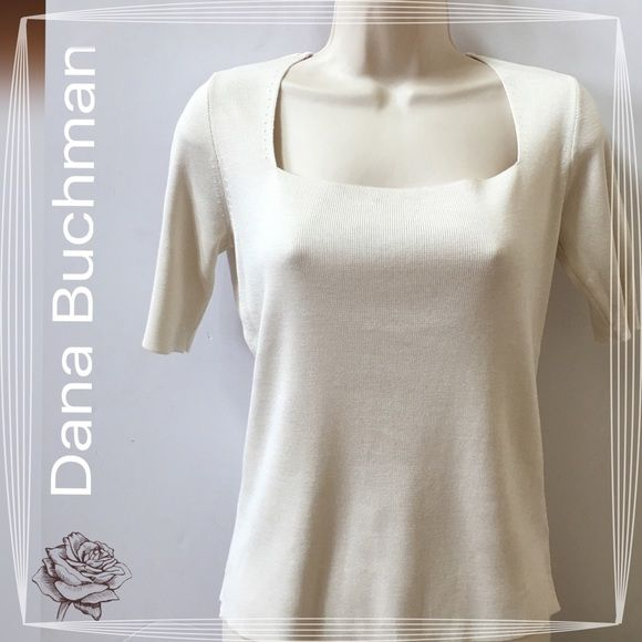 NWOT Dana Buchman 100% Silk Tee Square neckline, short sleeve, ivory color. Ribbed material of 100% silk. New without tags. No trades. Generous discount with bundle. Dana Buchman Tops Tees - Short Sleeve