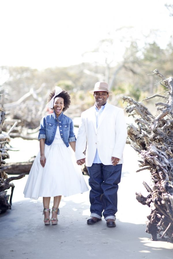 Denim jacket + short wedding dress = love! Photo by JadeandMatthew.com