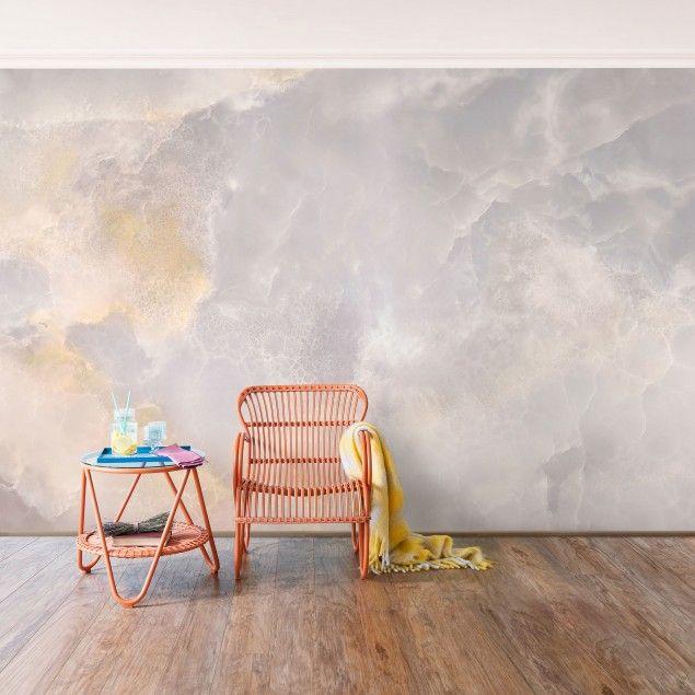 Marmor Tapete - Onyx Marmor Grau - Vlies Wandtapete Breit Zuhause