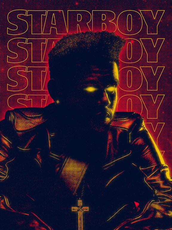 Art print tribute to The Weeknd's latest album, Starboy