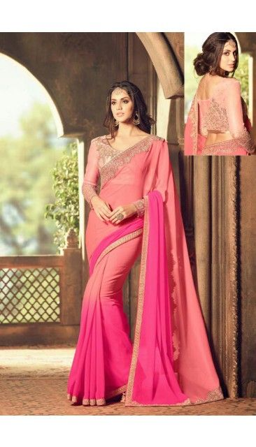 Pink And Rani Georgette Saree With Blouse - DMV11138