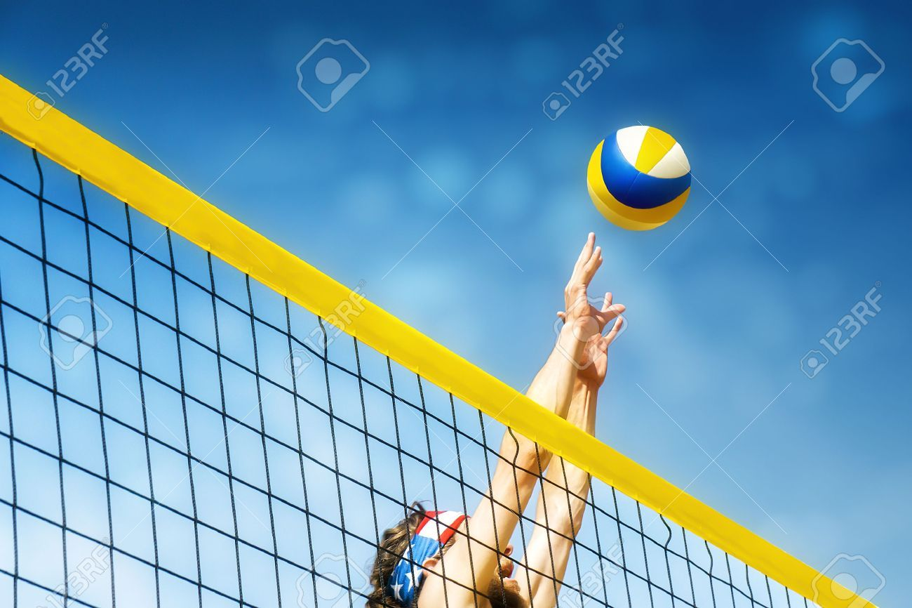 Beachvolley Ball Player Jumps On The Net And Tries To Blocks The Ball Ad Player Ball Beachvolley Blocks Net Volley Players Creative Flyer Design