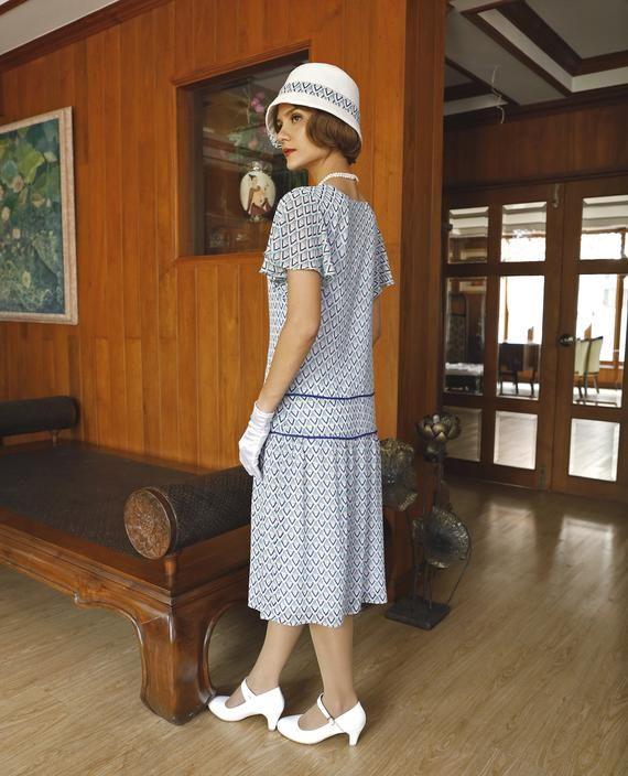 1920er Jahre große Gatsby Kleid in blau & grün mit ...