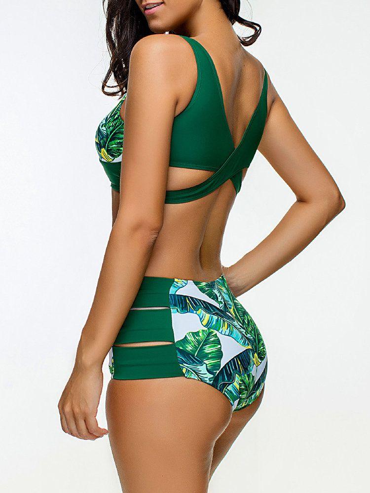 a1a6e7cbce Sexy Scoop Neck Vintage Waist Hollow Gather Bikinis Sets online - NewChic