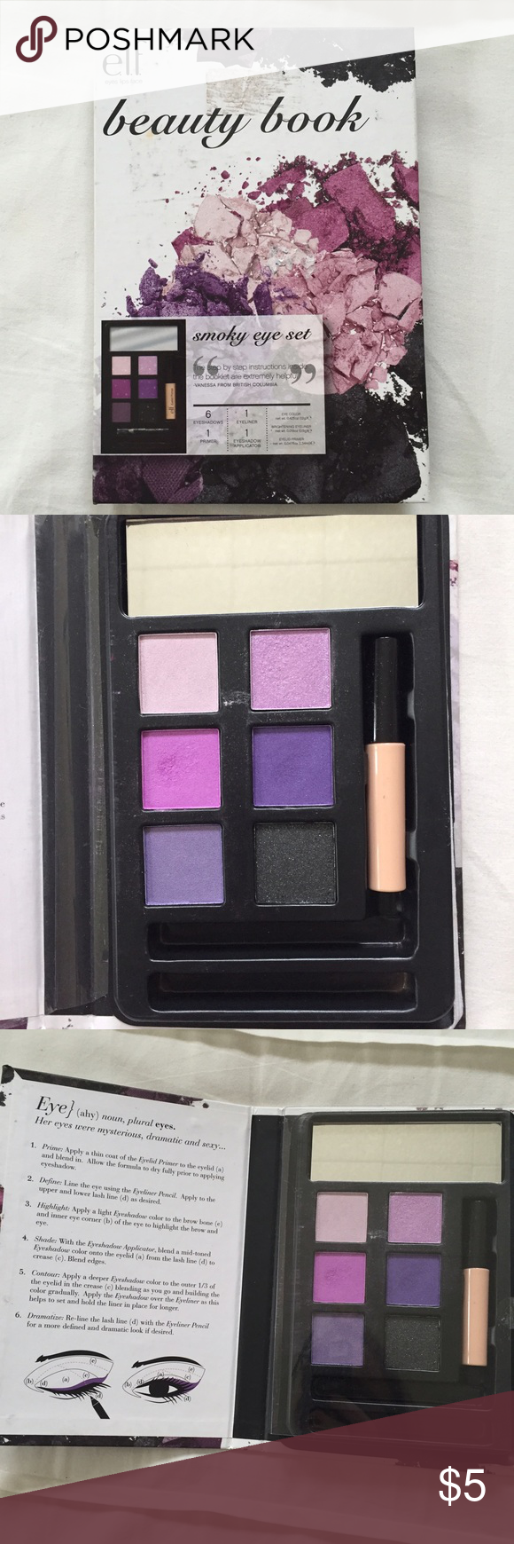 e.l.f. Smokey Eye Beauty Book Eyeshadow set with 6 shades, built in mirror, and eyeshadow primer• does not include the applicator or eye pencil• This was only (very lightly) used one time ELF Makeup Eyeshadow