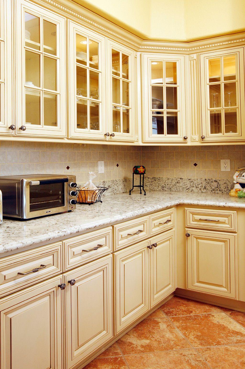 North American Maple Antique White Glaze Kitchen Cabinets