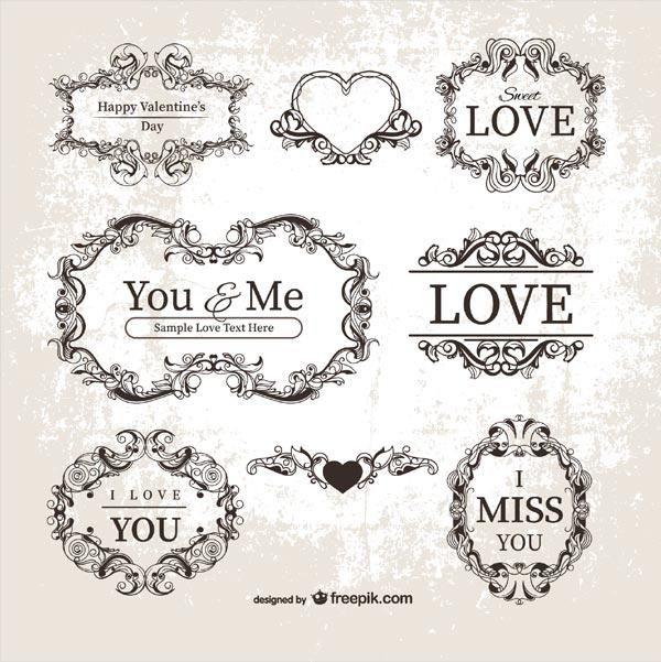 Vector Vintage Valentine S Day Ornamental Labels Frames Vector Free Vintage Valentines Vintage Labels