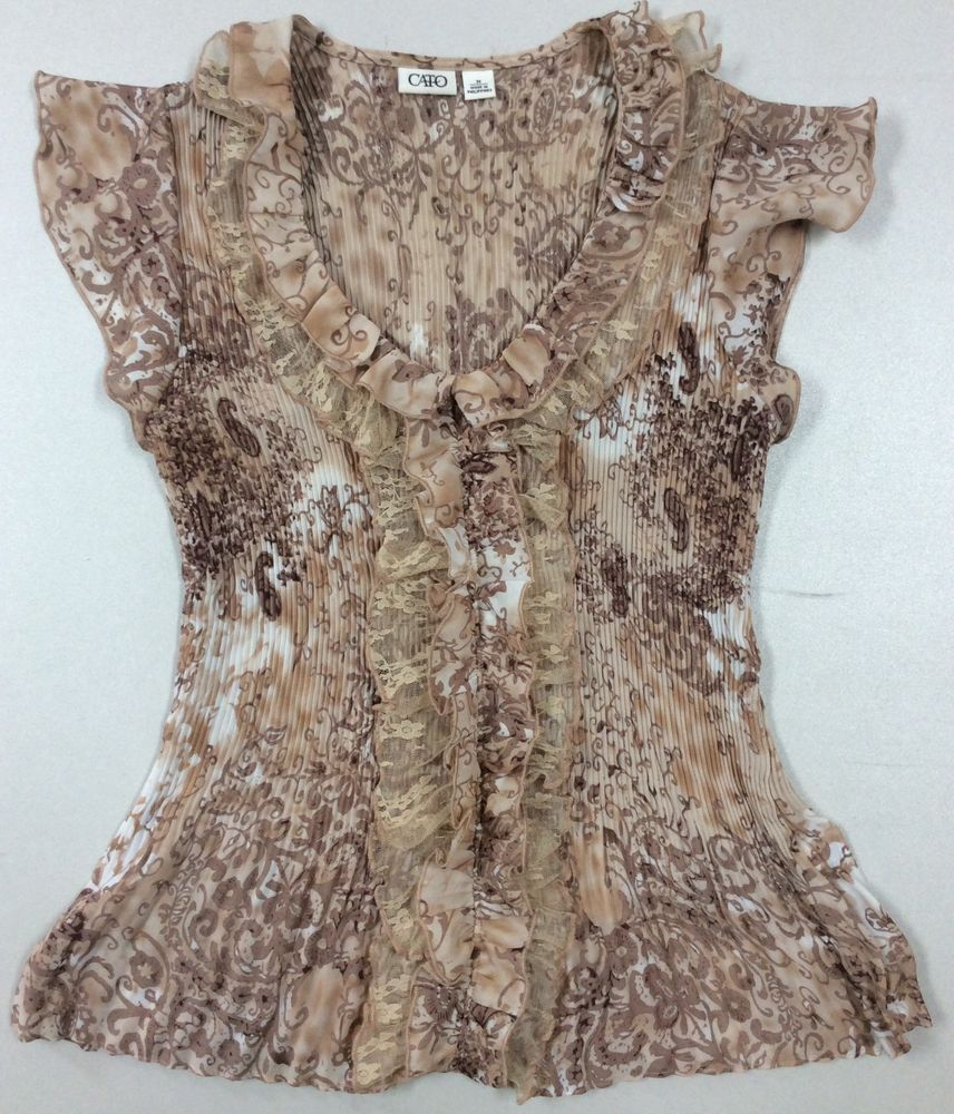 Cato womenus blouse floral short sleeve beige floral accordian lace