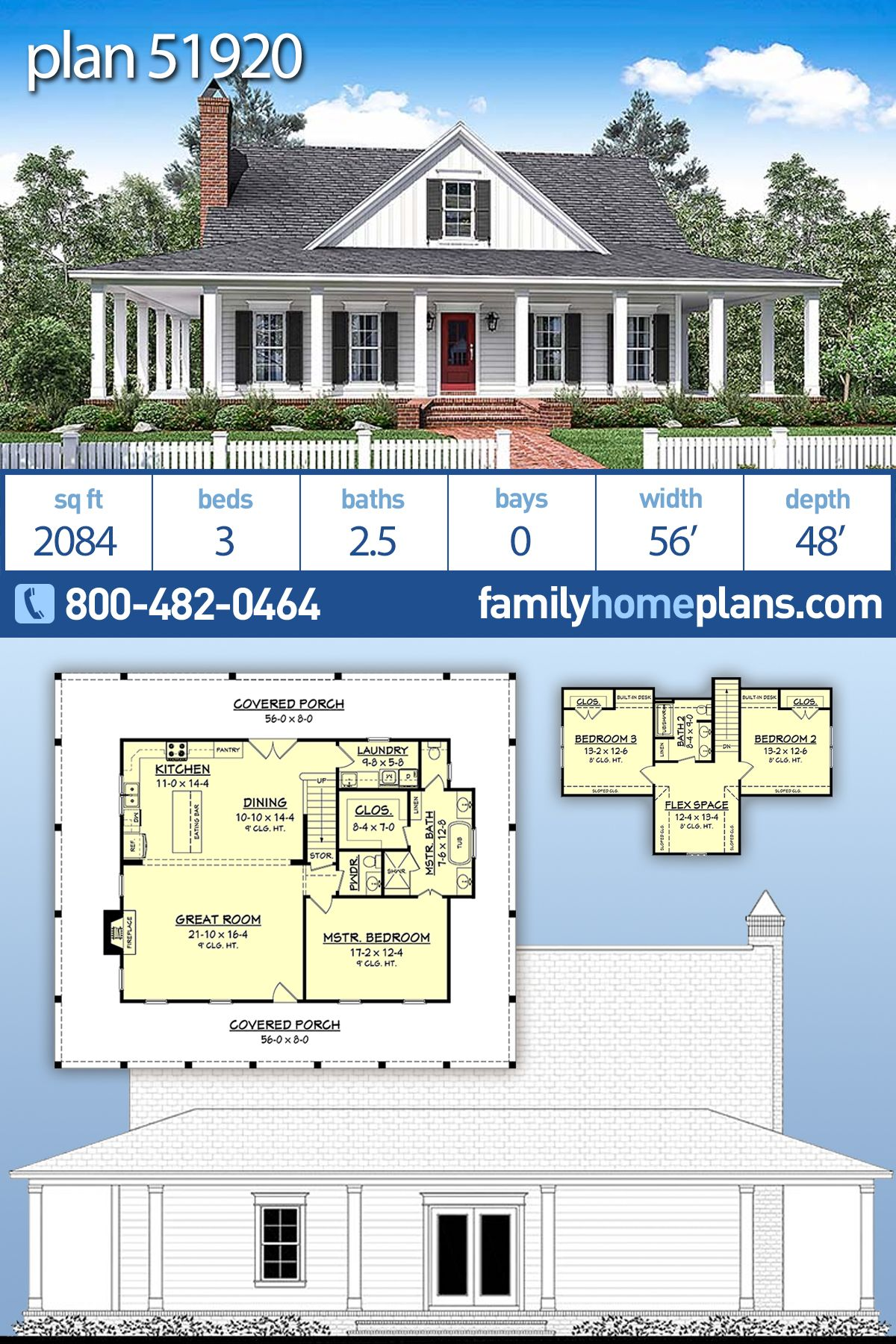 Traditional Style House Plan 51920 With 3 Bed 3 Bath Porch House Plans Country House Design Traditional House Plans