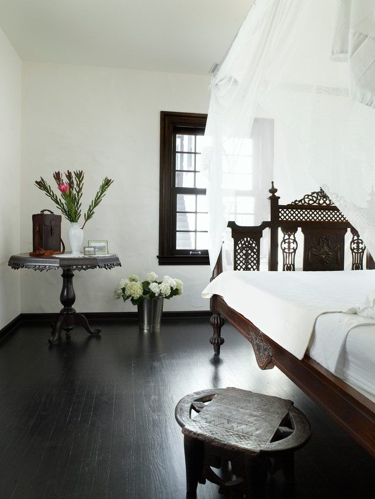 White Walls Dark Trim Bedroom Mediterranean With Black