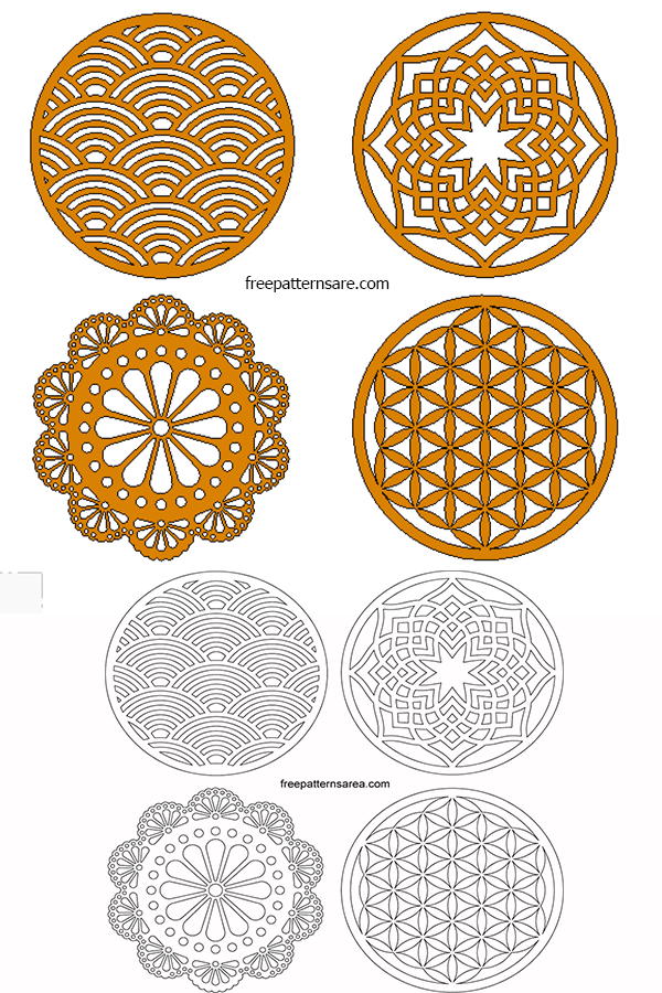 Laser Cut Vector Circle Coaster-Ornamet Free DXF Designs