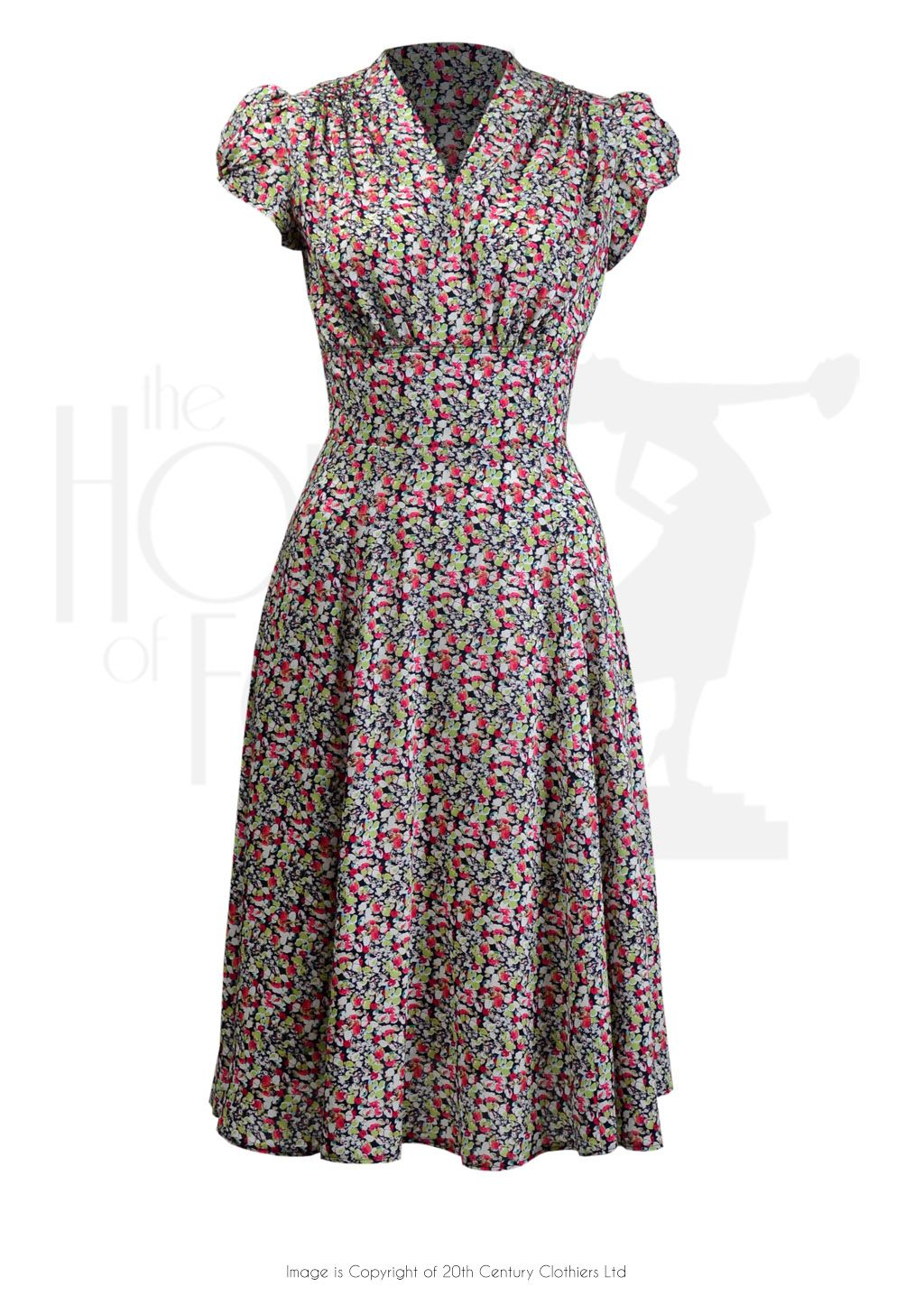 b054d0a0ad1b 1930s 40s Ava Tea Dress in Ditsy Print