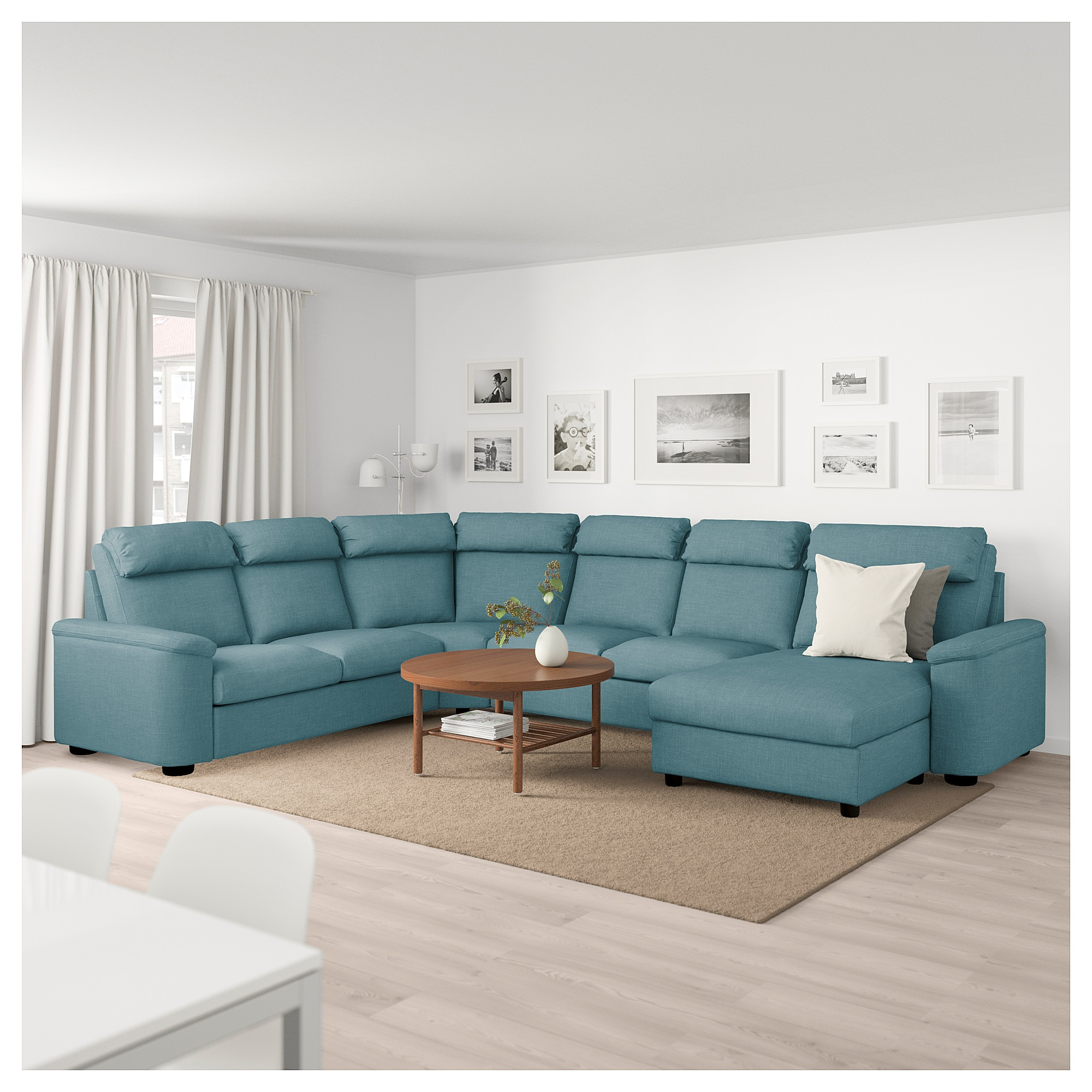 Lidhult Sectional 5 Seat With Chaise Gassebol Blue Gray Ikea Corner Sofa Beige And Grey Living Room Corner Sofa Bed