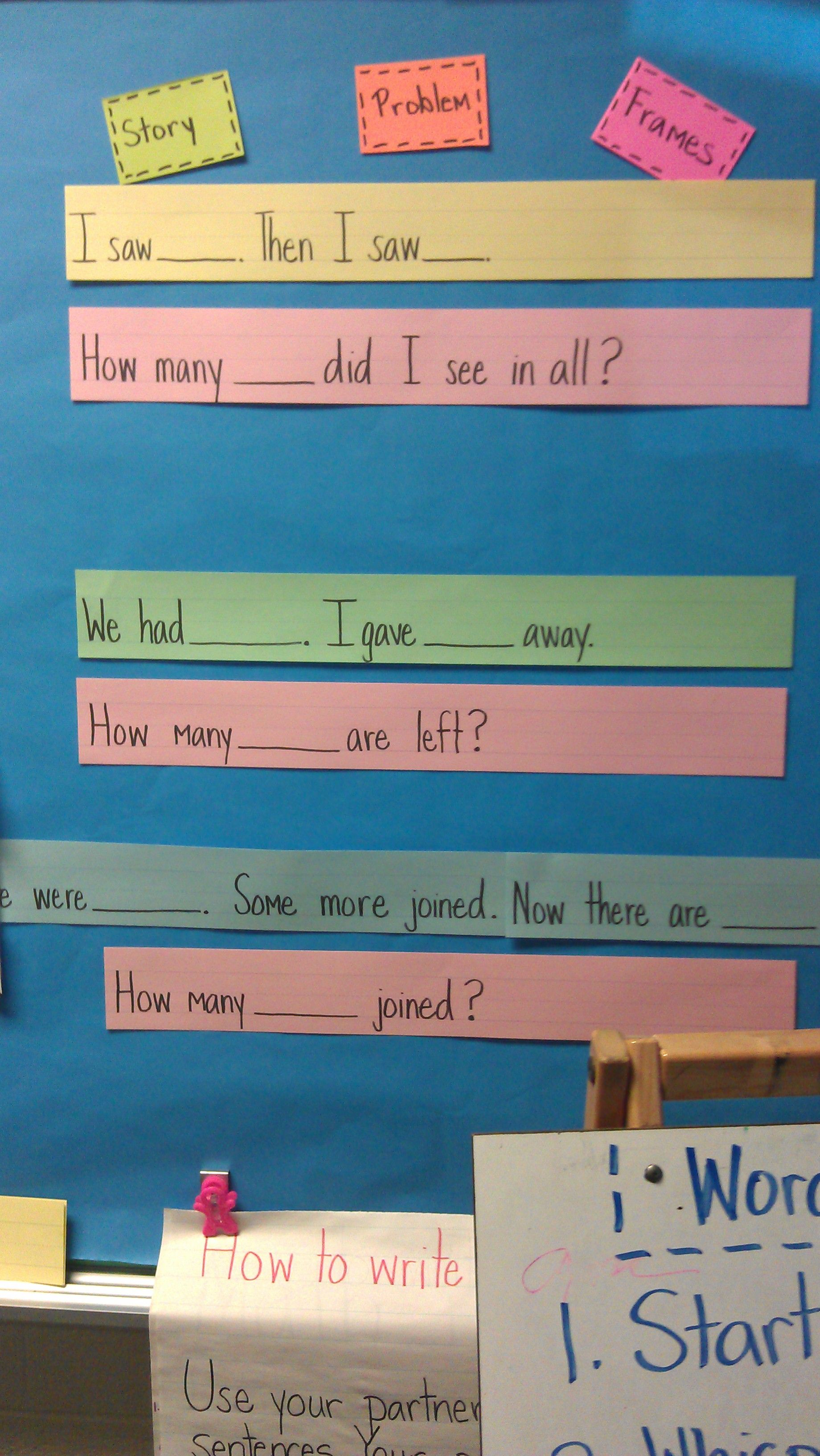 Story problem sentence frames. | I Love Math | Pinterest | Sentences ...