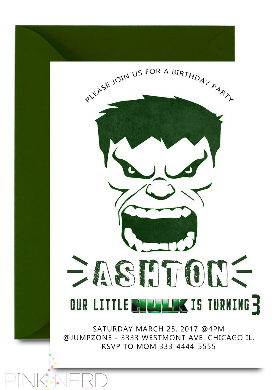 Incredible Hulk Birthday Invitation Green