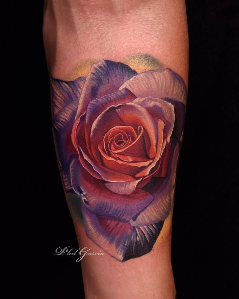 ef4b762b8 Realistic purple rose tattoo on the inner forearm. Tattoo Artist: Phil  Garcia