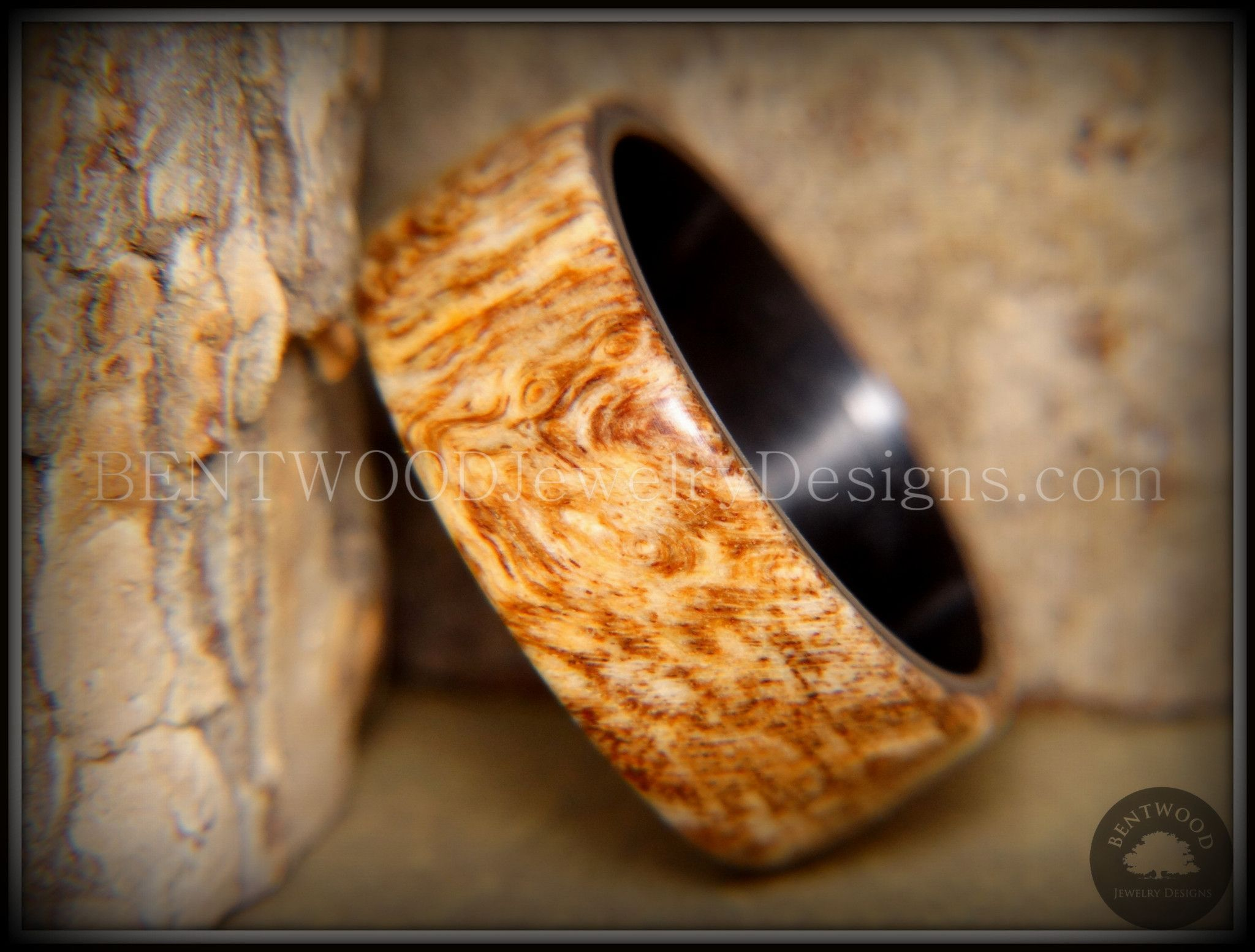 onyx wedding band Bentwood MArbled Maple Burl Wood Ring with Surgical Grade Onyx Black Stainless